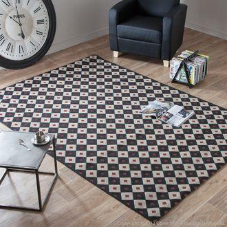 Tapis effet sisal motifs damier noir-rouge 160x230cm VEGETAL AXE design