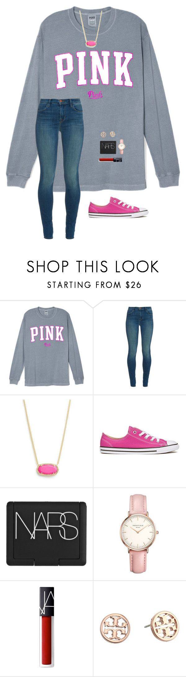 """""""Qotd #1"""" by a-devo ❤ liked on Polyvore featuring J Brand, Kendra Scott, Converse, NARS Cosmetics, Topshop and Tory Burch"""