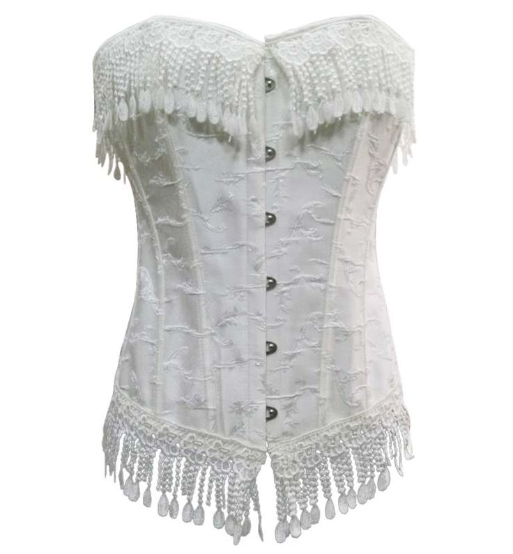 Palace off white fringed jacquard lycra, lace up front and back #vintage #corsets #corsetsa