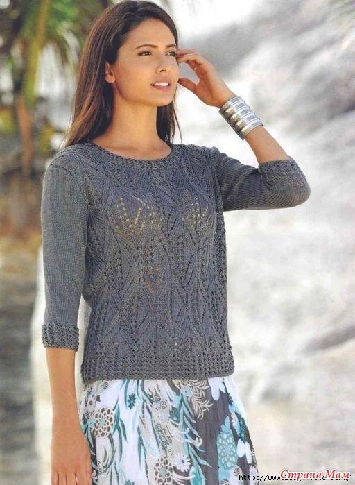 . Легкий ажурный пуловер спицами