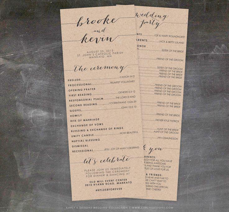 Rustic Wedding Program, Fall or Winter Wedding Program, Printable Wedding Program, Catholic Wedding Program, Unique Wedding Program by KarlyKDesignShop on Etsy https://www.etsy.com/listing/234836124/rustic-wedding-program-fall-or-winter