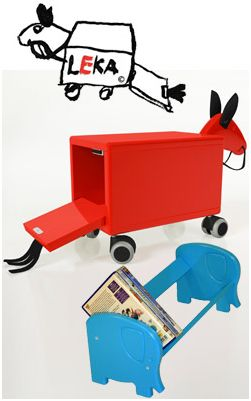 Love the design of these items  Leka at Nordic Kids. The Trojan Horse was designed as early as in 1962 in Sweden and has recently been redesigned with rubber wheels etc. This fun toy can be a rocking horse, a stool and storage for all those little toys.
