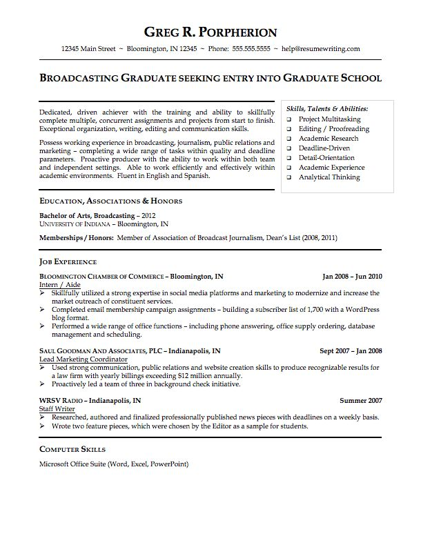 Resume Examples For College Sample College Student Resume Pdf - graduate school application resume sample