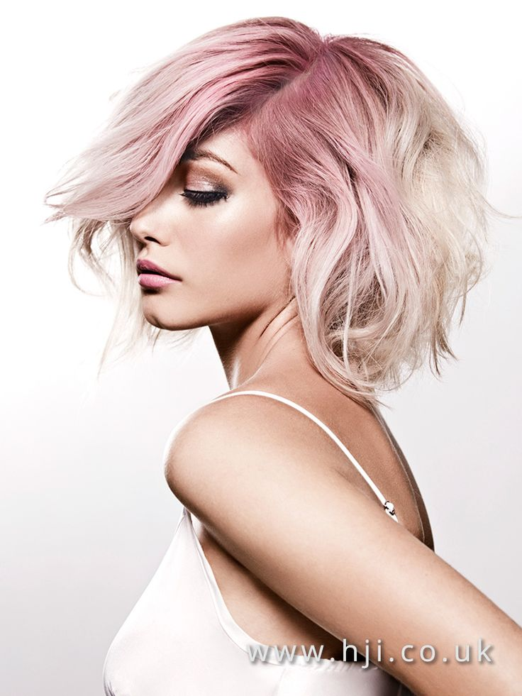 2016 Voluminous wavy bob platinum blonde with pink root drag - Hairstyle Gallery