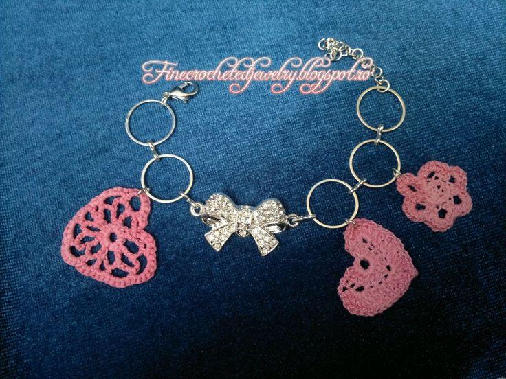 Crochet pink heart bracelet