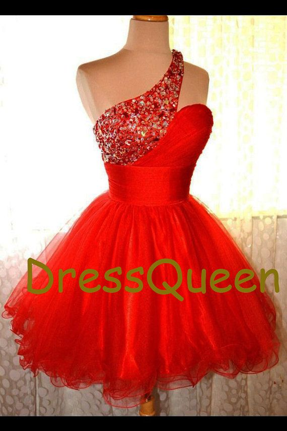 One Shoulder Beads fashion Prom Dress, short formal cocktail dress ,homecoming dress,red short dress on Etsy, $99.00