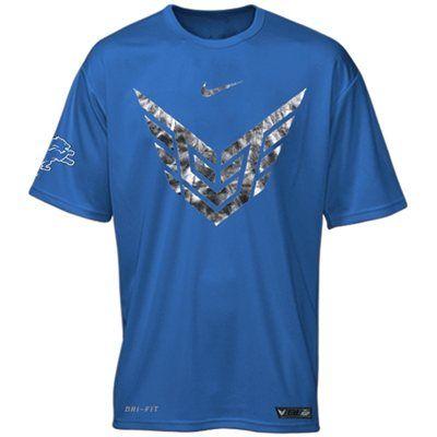Nike Calvin Johnson Detroit Lions Detroit Logo Performance T-Shirt - Light Blue size m