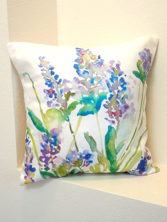 Lavender Watercolor Floral Pillow Cover, Designer Watercolor Fabric, Watercolor…