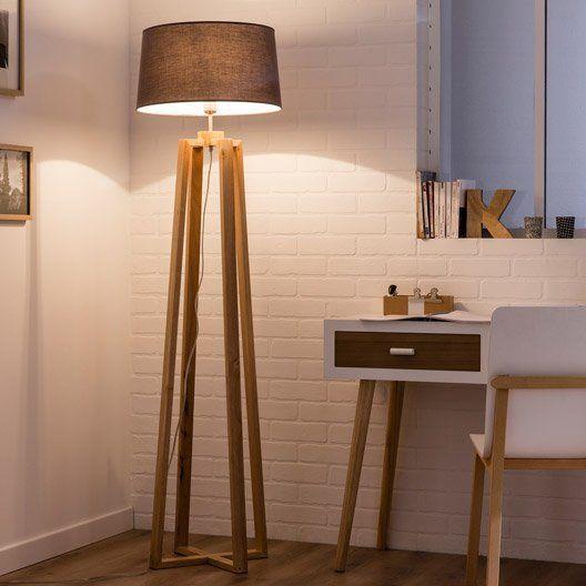 Pied de lampadaire Sachi, bois bois, 144 cm, INSPIRE - 50€