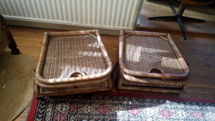 Two Vintage Antique  Wicker Folding Canoe Fishing Picnic Seats 2