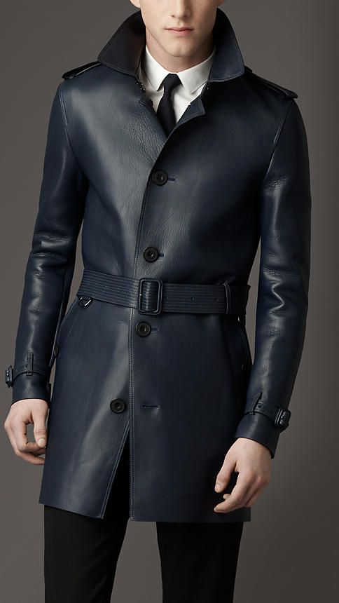 Burberry London | Mid-Length Lambskin Leather Trench Coat.