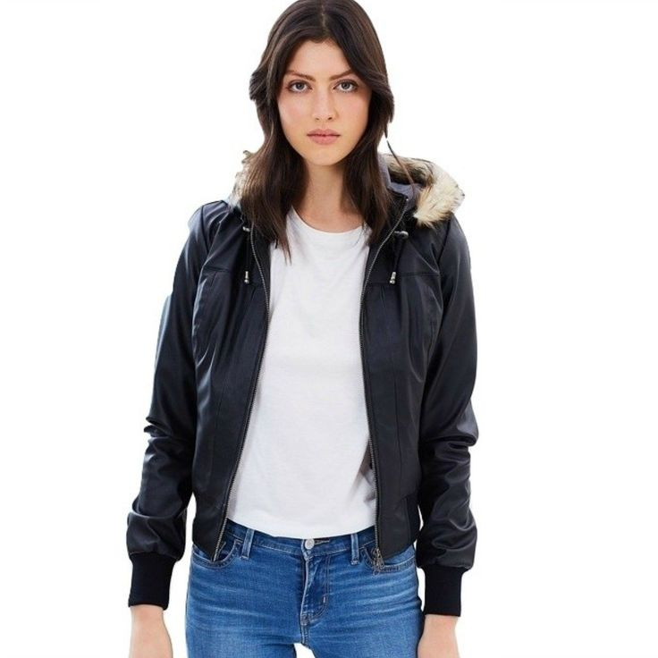Vegan Leather Vintage Bomber Removable Hood & Liner 'Sarah' - Our 'Sarah' vintage bomber jacket comes in vegan leather as well as vegan suede.