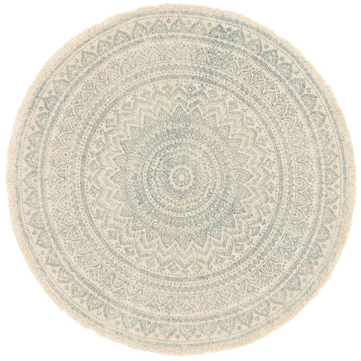 Blue and ivory print jute round rug 3ft at home