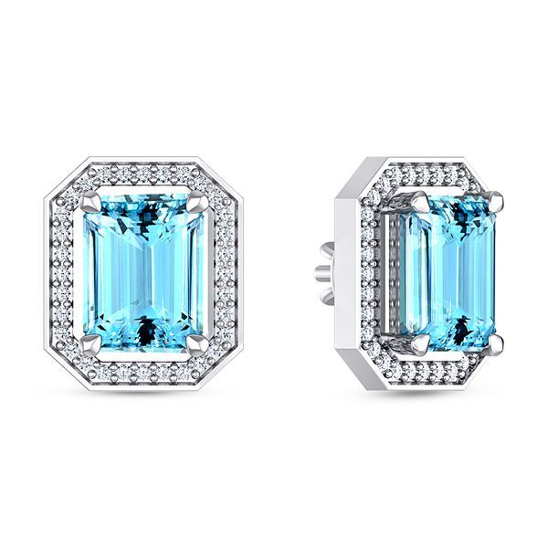 Ryba Diamond and Aquamarine Earring #DiamondEarring