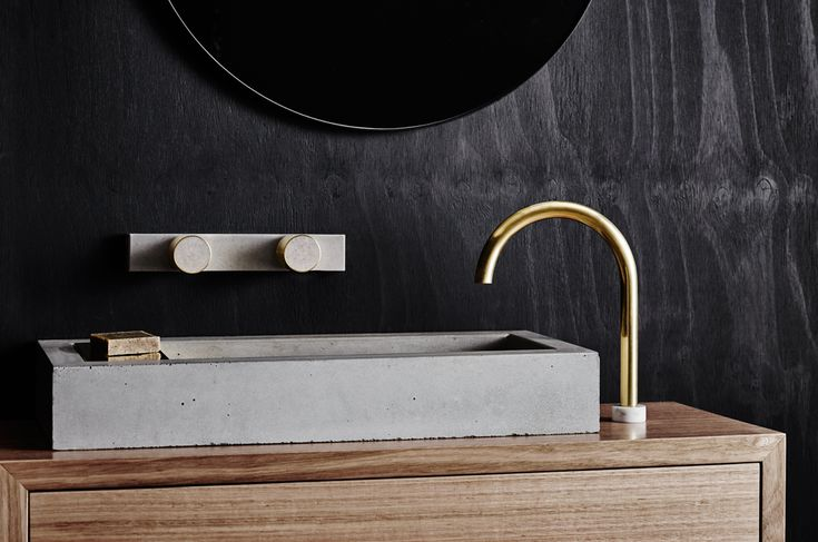 Zoe Concrete Basin with Sealed Brass Soap Plate, Olympia Concrete and Brass Taps, Anna Hob mounted Spout, on our Aphra wall mounted Timber Vanity Unit in Victorian Ash