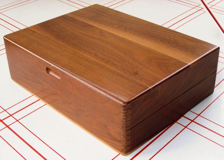 Lauffer Design 3 Flatware Storage Box Mid-Century Modern Walnut Silverware Chest | eBay