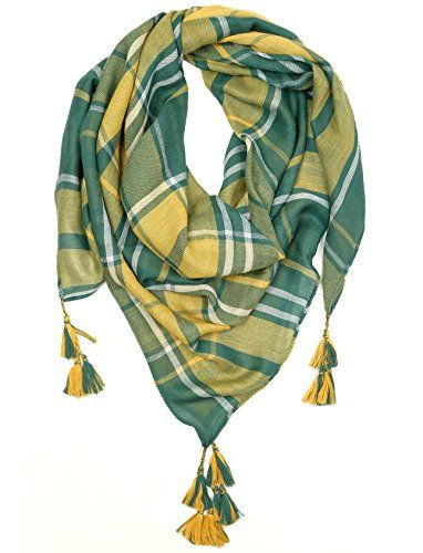 Game Day (College Pro High School Team) Square Plaid Tassel Scarf - Green & Yellow. SHOW YOUR SPIRIT: Get fired up and cheer your team on to victory with this green and yellow (gold) scarf. Whether it's for varsity, high school, college, fantasy or professional, this scarf is perfect for any sporting event. Great for football, basketball, baseball, hockey, tennis, softball, rugby, wrestling, lacrosse, marching band, dance, swim and more! Show your pride as a freshman, sophomore, junior or…