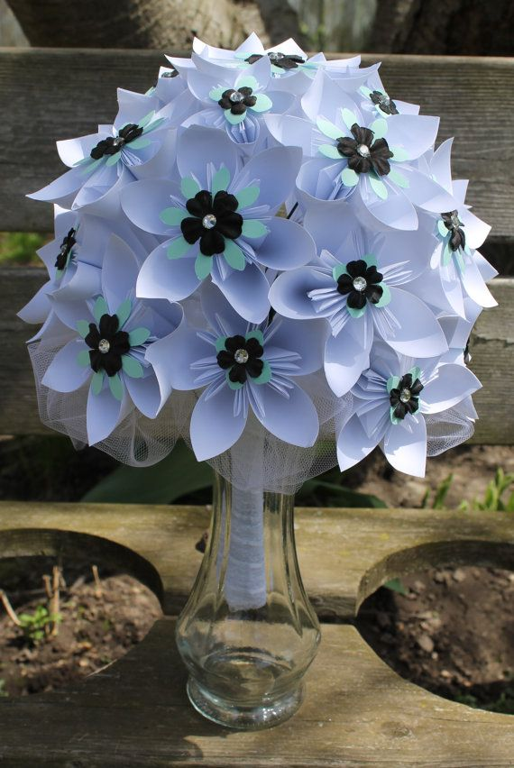 White, Mint and Black Origami Bridal Bouquet - Paper Flowers - Wedding Bouquet - Alternative Wedding Flowers - White Flowers