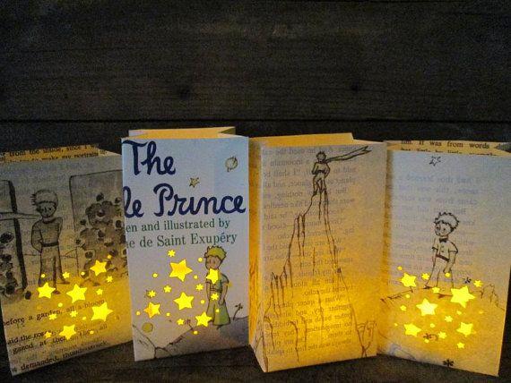 The Little Price, 4 Petit Luminary Bags, Antoine de Saint Exupery, Little Prince Book Art, Baby Shower Decor, Baby Gift, Prince, Book Art