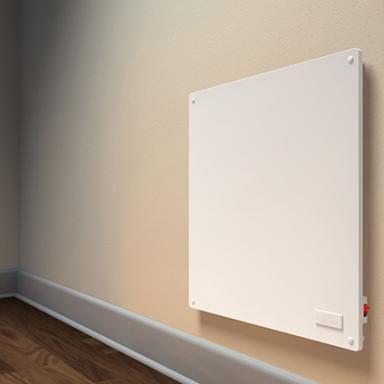 Econo-Heat elektrisch verwarmingspaneel met thermostaatslot | Praxis. Ter vervanging van de verwarming in de slaapkamer zodat bed erin past.