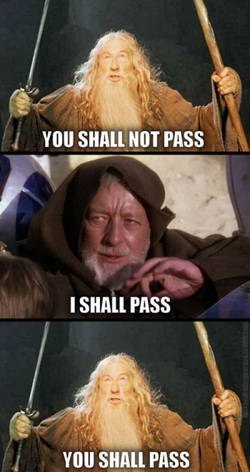 Obi Wan vs. Gandalf--although...Jedi mind tricks only work on the weak minded, so that rules Gandalf out.