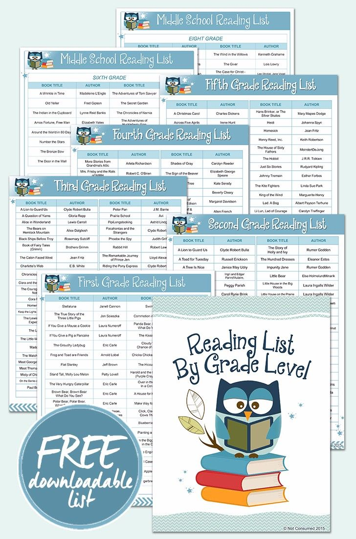 Free Reading Lists for Grades 1-8