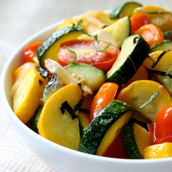Sauteed Summer Squash with Wilted Cherry Tomatoes