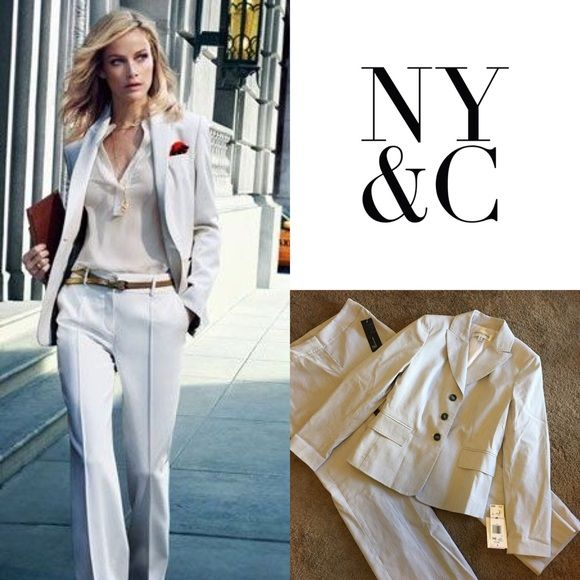 NY & Co white with blue pinstripe suit size 6 Brand New with tags NY & Co white with blue pinstripe 3 piece suit!  Absolutely gorgeous!  Size 6!  Retail: $240.  Is be happy to help you with any further questions! New York & Company Jackets & Coats Blazers