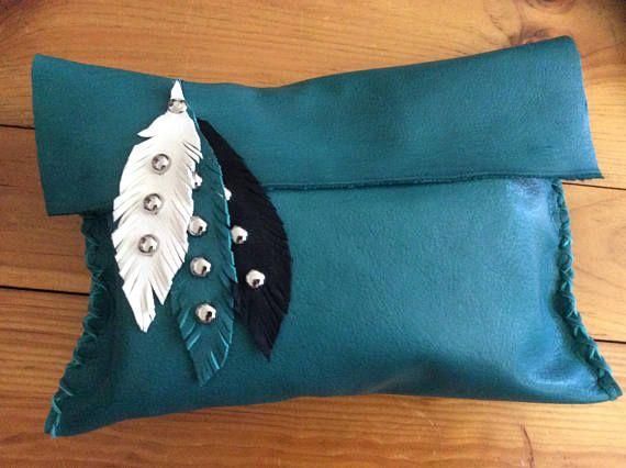 Unique Leather Clutch Bag Ladies OOAK Soft Cowhide Bag with