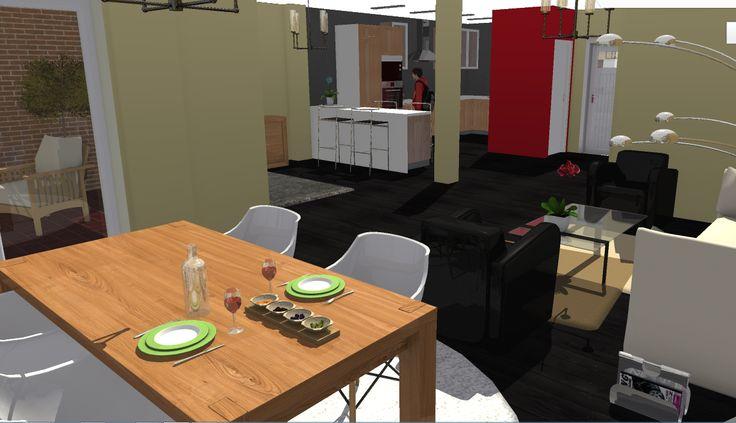 Opción 4 - Vista desde comedor hacia cocina
