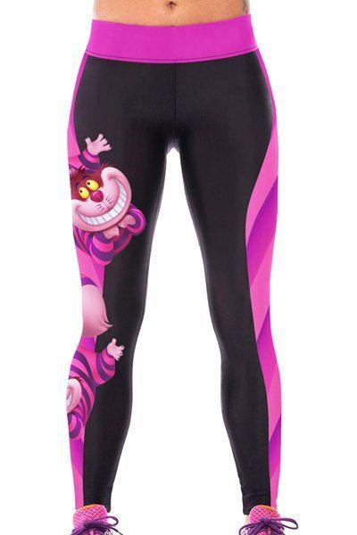 Chic Cartoon Print Color Block Elastic Bodycon Yoga Pants For Women