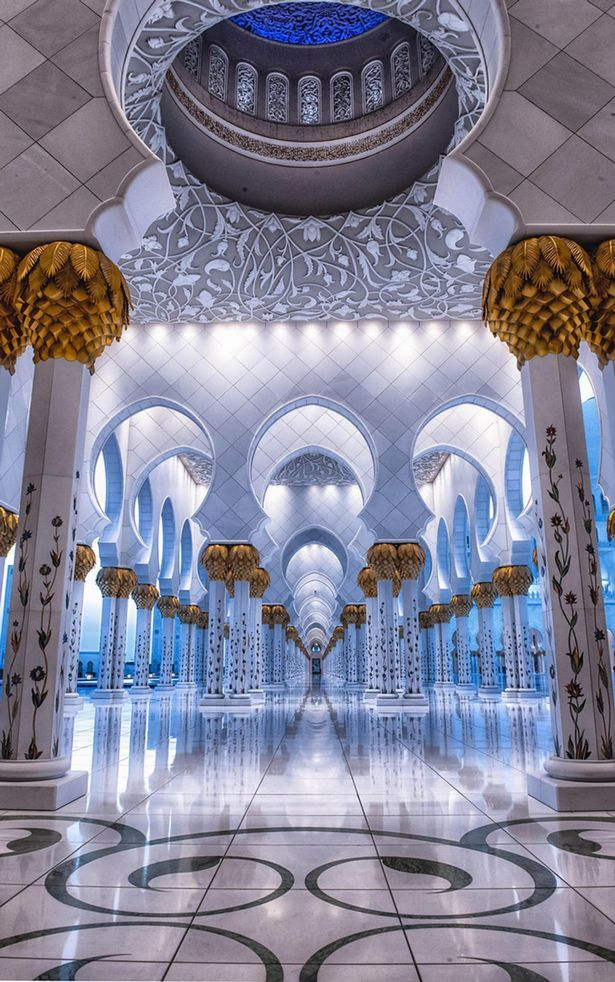 The interiors of the ornate Sheikh Zayed in Abu Dhabi, the biggest mosque in the Middle East. For more of such stunning architecture follow DesignersDome on Facebook, Pinterest, Instagram and Twitter