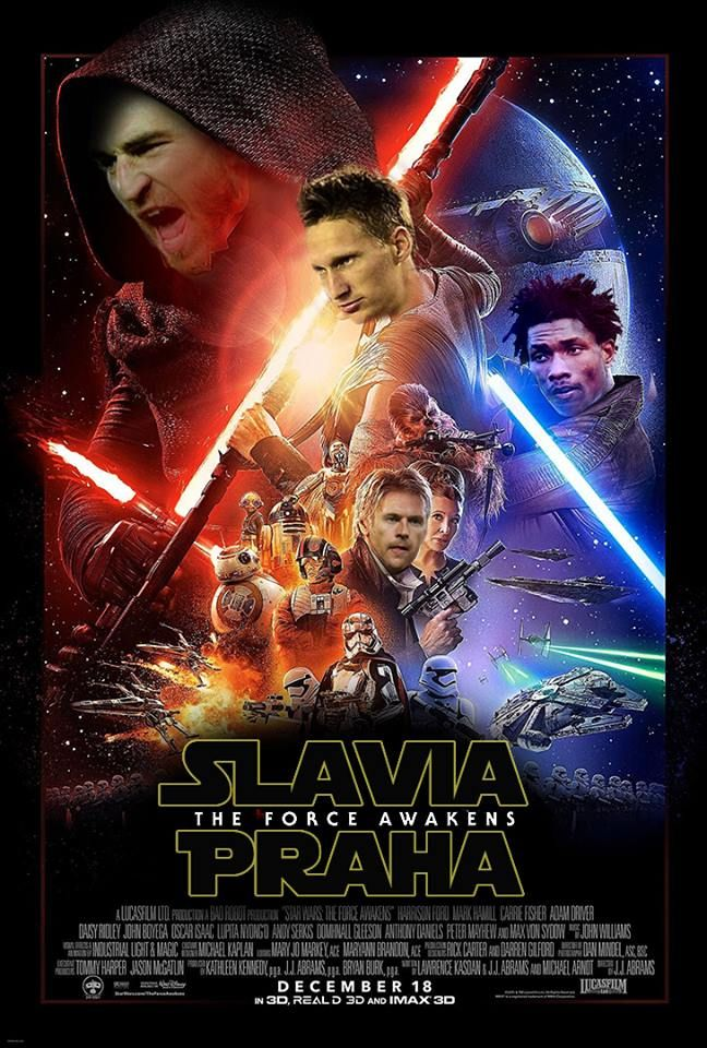 A Slavia Praha-themed pastiche of the Star Wars: The Force Awakens poster, downloaded from the SlaviaFans Facebook page