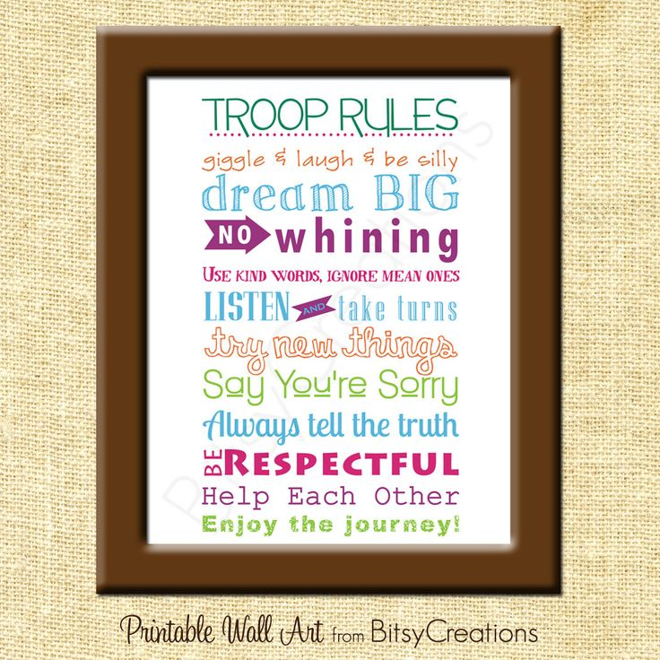 Girl Scouts Troop Rules Subway Art Printable Wall Art by BitsyCreations. $5.00, via Etsy.