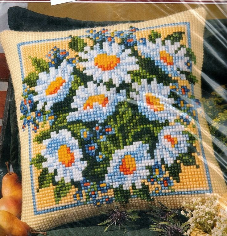 """Vervaco Quickpoint Cross-Stitch Pillow Kit Daisy Bouquet 16"""" x 16"""" #1200/691 #Vervaco #PillowCover"""
