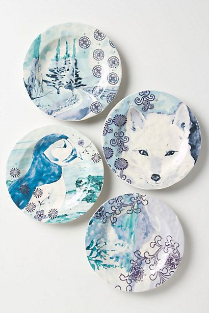Winterland canape plate anthropologie 8 each 4 diff for Calligrapher canape plate anthropologie