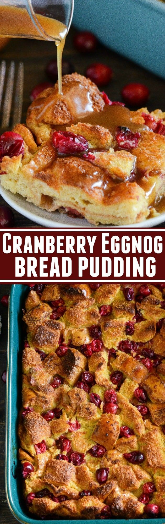 Cranberry Eggnog Bread Pudding sponsored by Handsome Farm Eggs: kick off the holidays with this rich bread pudding with cranberries, eggnog, cinnamon and a generous pour of buttery rum sauce!