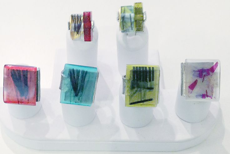 Several rings designed by Ann-Marie Chagnon.