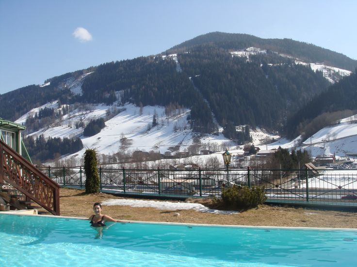 Indulging in the the outdoor pool at Hotel Pichlmayrgut close to Schladming