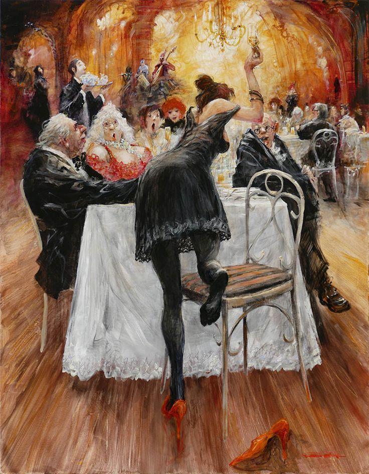 """""""A la table de Grandgousier""""  Marcel Nino Pajot   Technique mixte sur toile   (146x114)"""
