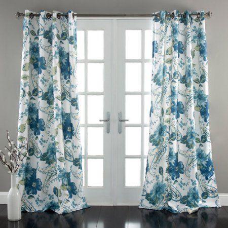 Floral Paisley Window Curtains Blue Set