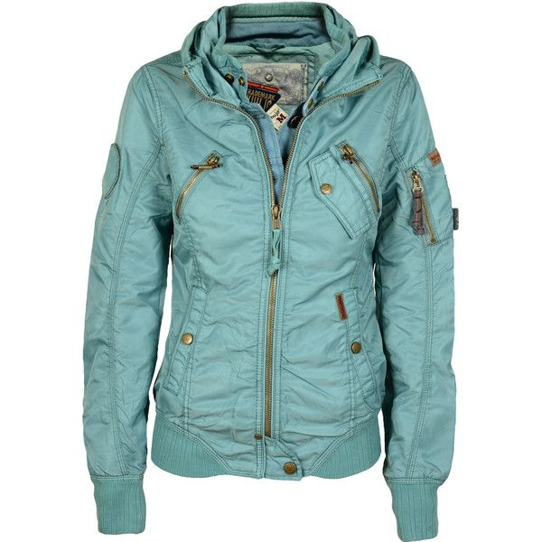 Khujo Womens Quest Transition Jacket turquoise (585 BRL) ❤ liked on Polyvore featuring outerwear, jackets, khujo, green jacket, khujo jacket and turquoise jacket