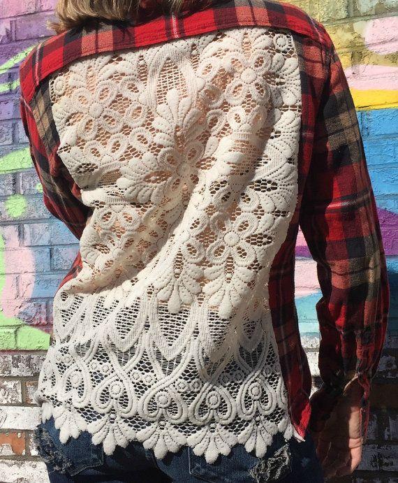 Boheemse grunge geruite Flanel knop ingedrukt shirt door willowfinds