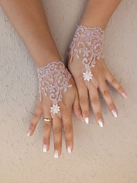 Pale Lilac pink lace gloves free ship bridal cuff by WEDDINGHome, $25.00