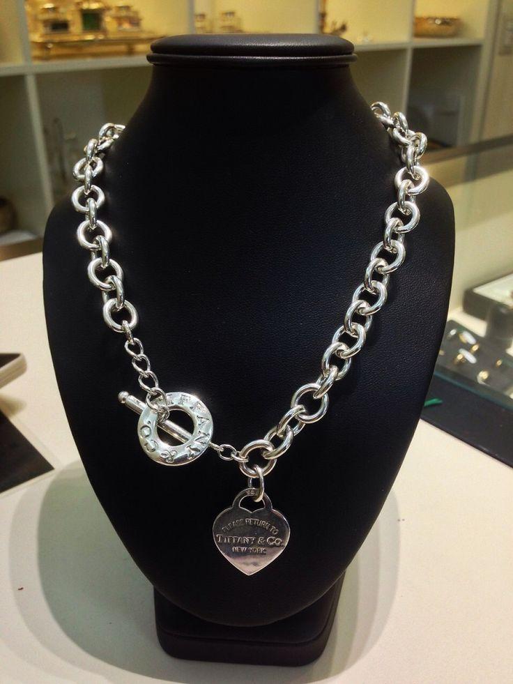 Collana Tiffany con piastrina a cuore e con chiusura toggle. prezzo da outlet - Orolive la gioielleria dell'occasione