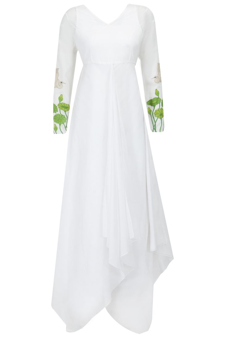 White embroidered sleeves floor length draped dress available only at Pernia's Pop-Up Shop.