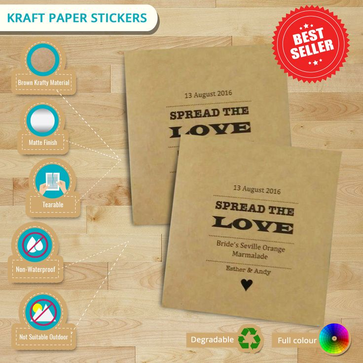 #KraftPaper #Stickers for a wedding #labels. Check this #infographic for the product details. #kraftlabels #paperstickers #customstickers