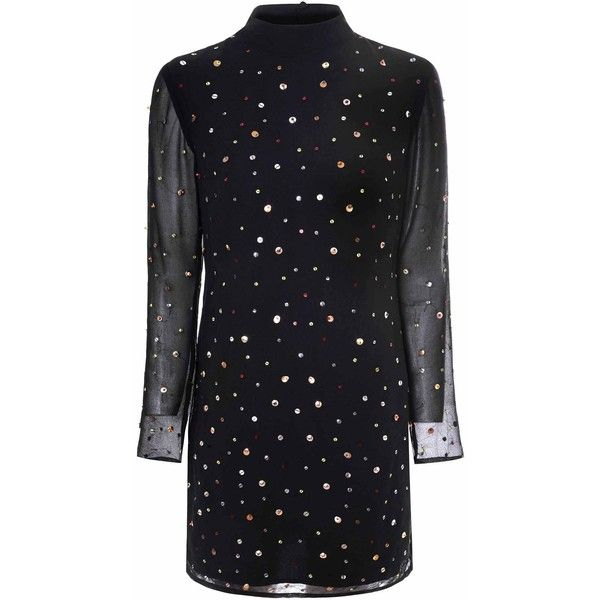 Black Multi Coloured Bead Shift Dress (£30) ❤ liked on Polyvore featuring dresses, black, sequined dresses, long cocktail dresses, sequin cocktail dresses, party dresses and high neck dress