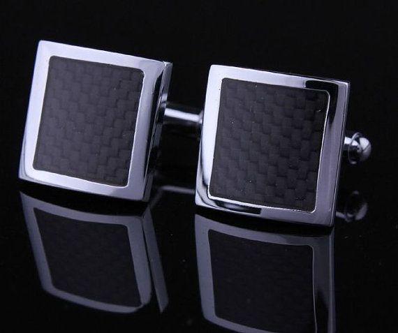 Black carbon fiber cufflinks cufflinks shirt cufflinks by yourcuff, $29.90