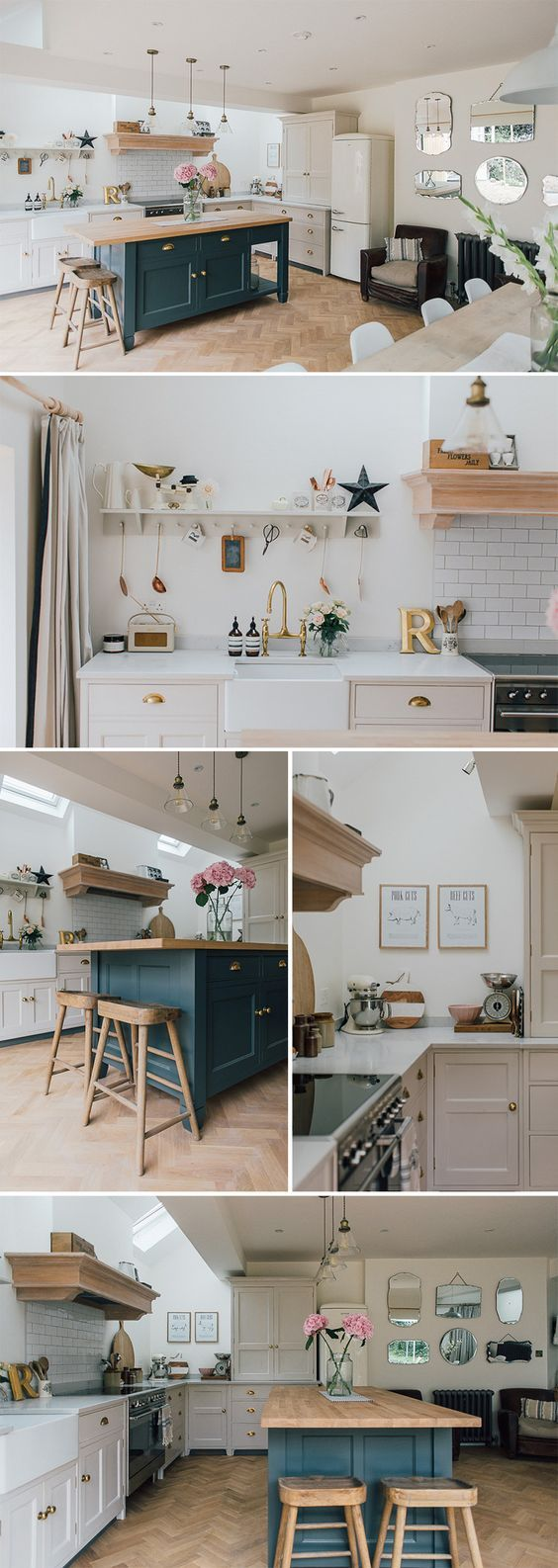 A modern country kitchen | Laura Ashley pendants | A Modern Country Farrow & Ball Downpipe And Skimming Stone Kitchen With Oak Parquet Flooring | parquet floor inspiration | farrow and ball inspiration | peg board shelf | butler sink | vintage kitchen accessories